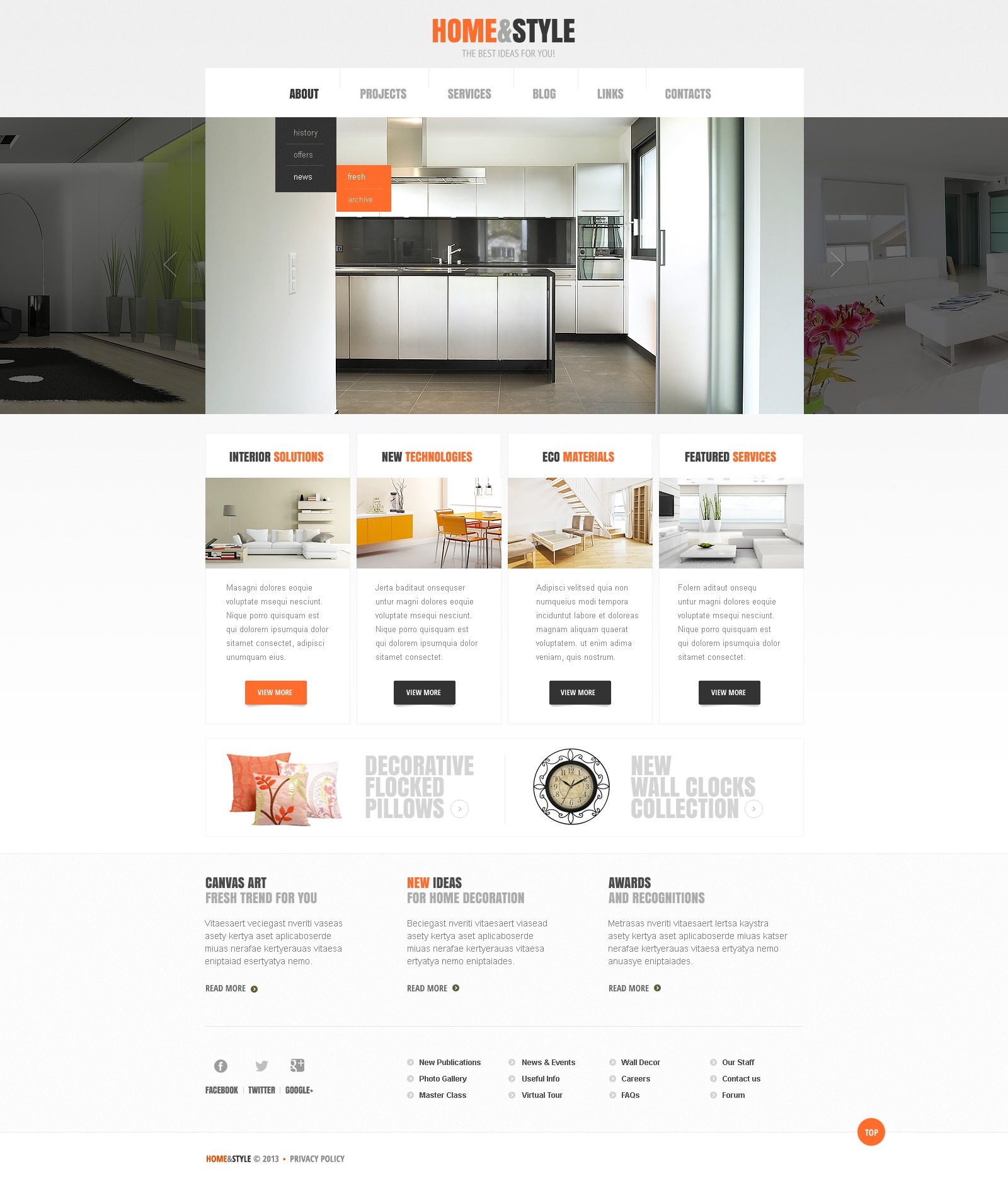 White interior design wordpress theme 42628 for Interior site