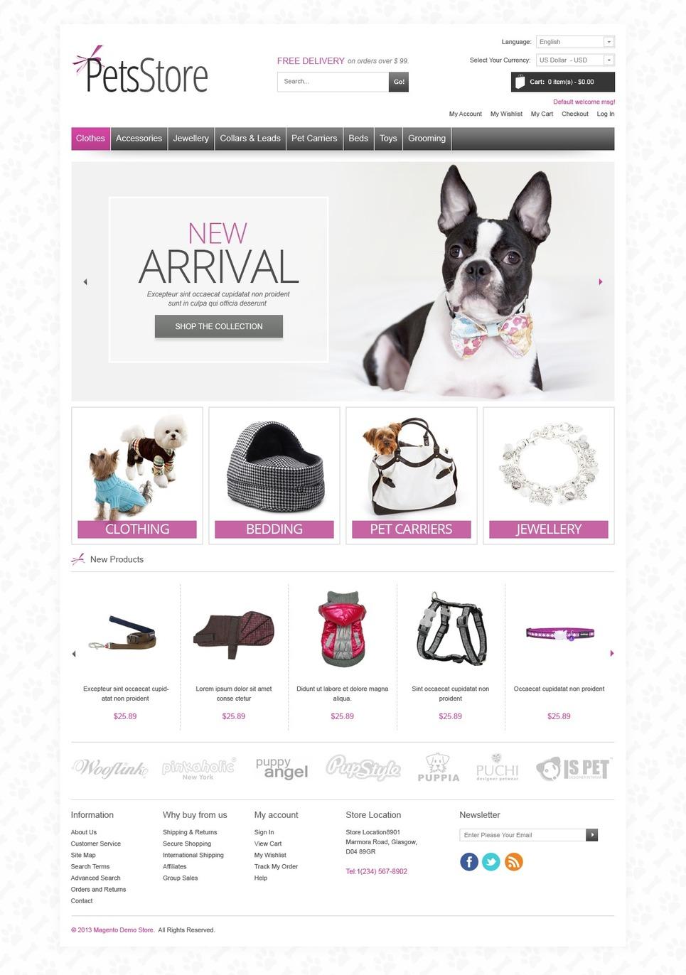 Minimalistic Pet Store Magento Theme