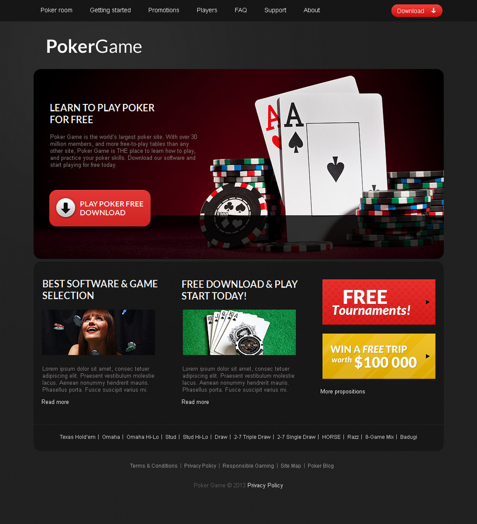 Poker Website Template with Black Background - image