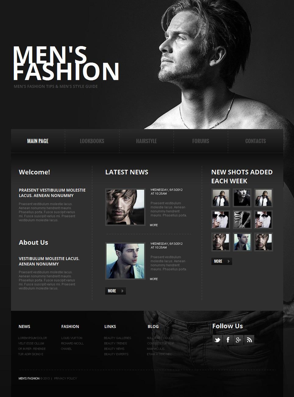 Monochrome Men Fashion Website Template - image