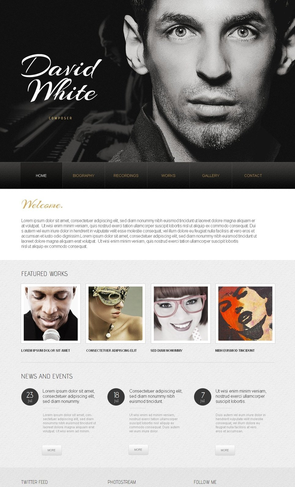 Template for Personal Website in Black and White Style - image