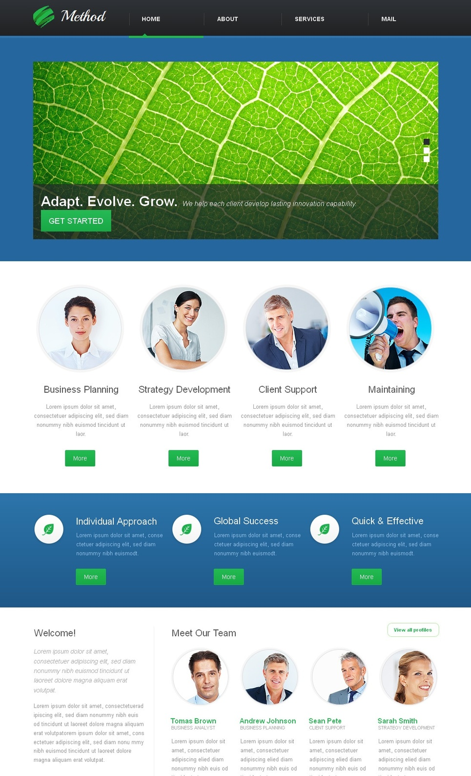 Business Website Template with Varicolored Home Page - image