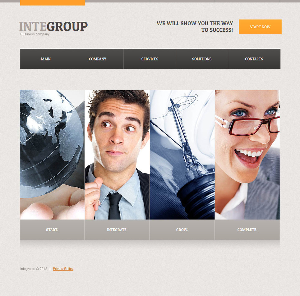 Business Company Website Template with Photographic Boxes - image