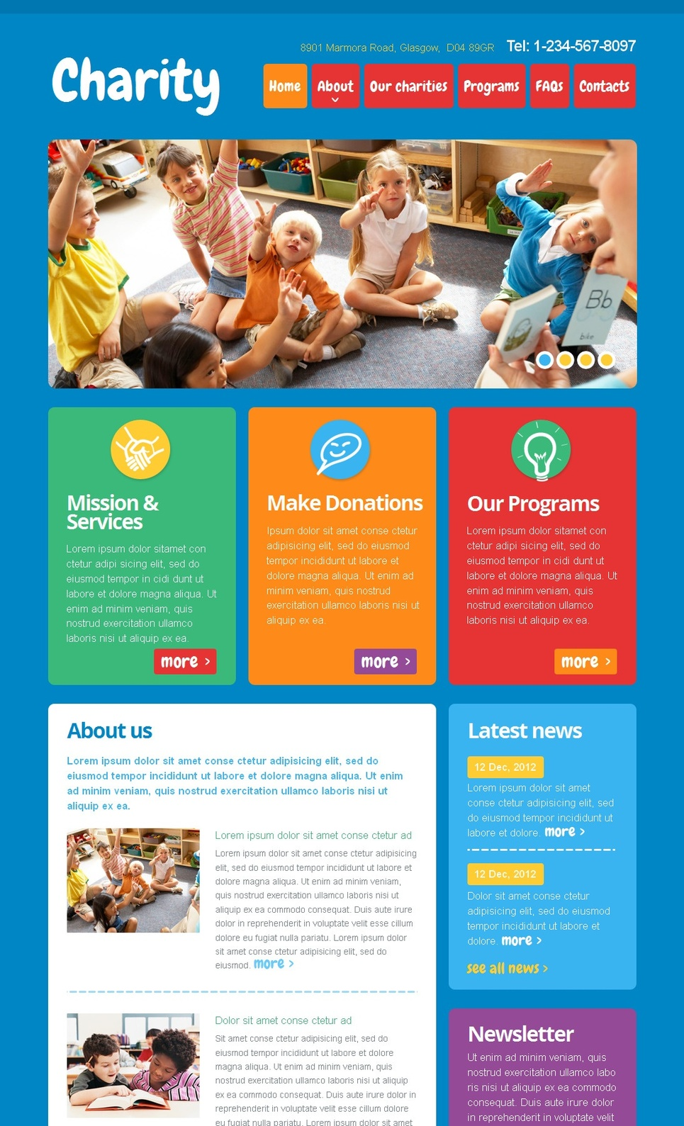 Charity Website Template with Bright Design - image