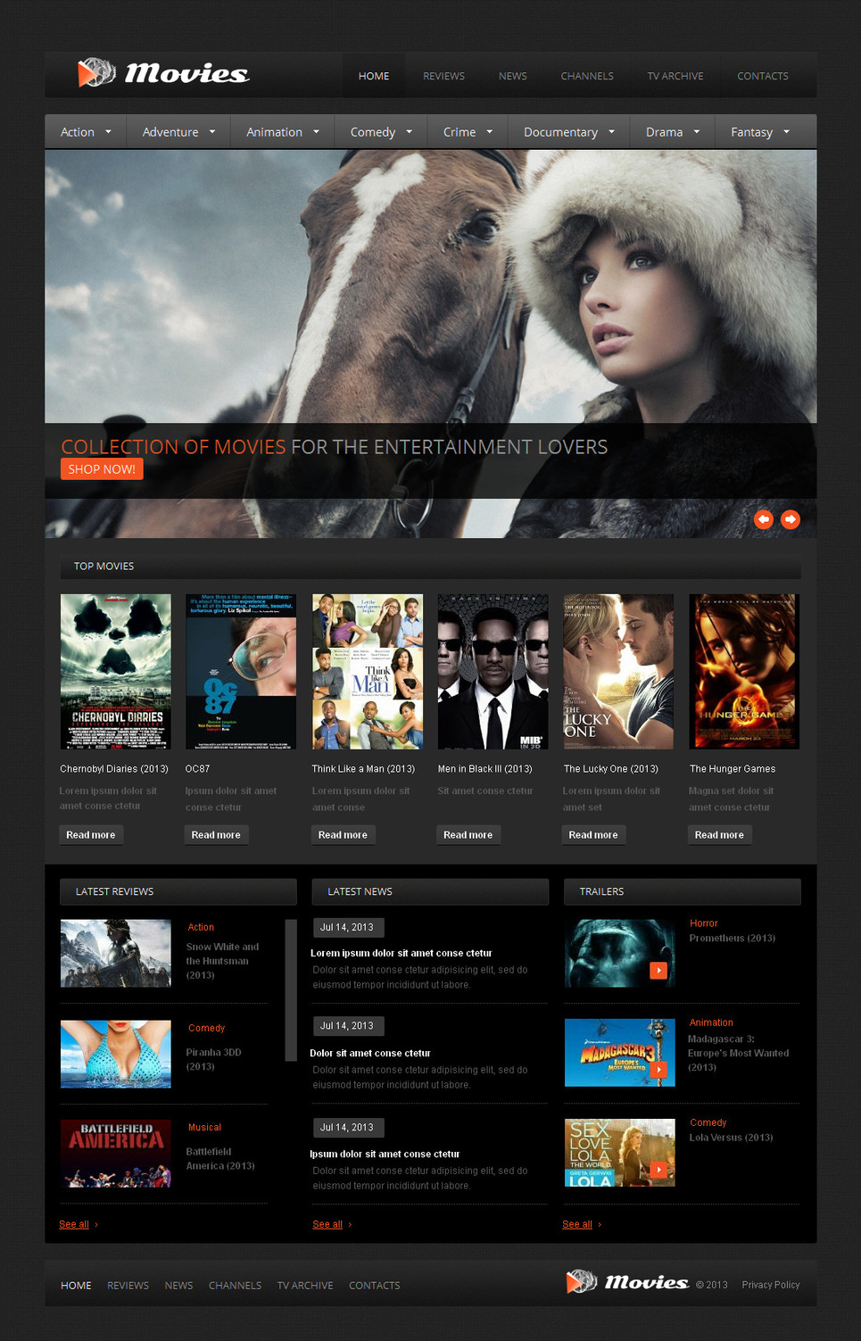 Stage and Screen Website Template Done in Dark Colors - image