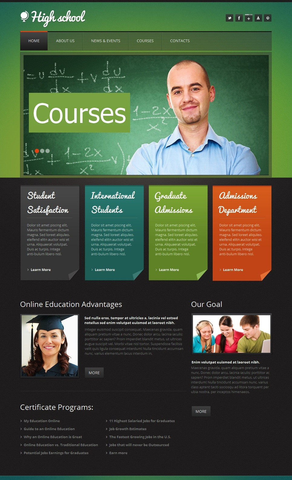 Education Website Template for High Schools and Courses - image