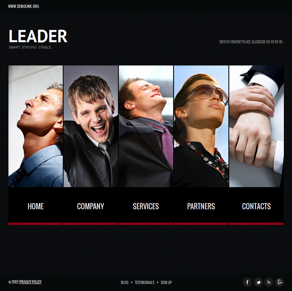 Business Consulting Website Template with Illustrated Menu Bar - image
