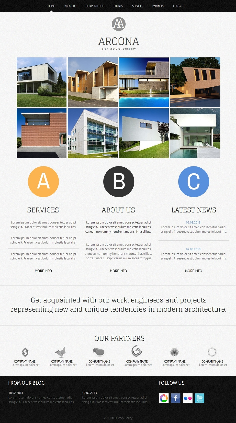 Architecture Web Template with Grid Gallery - image