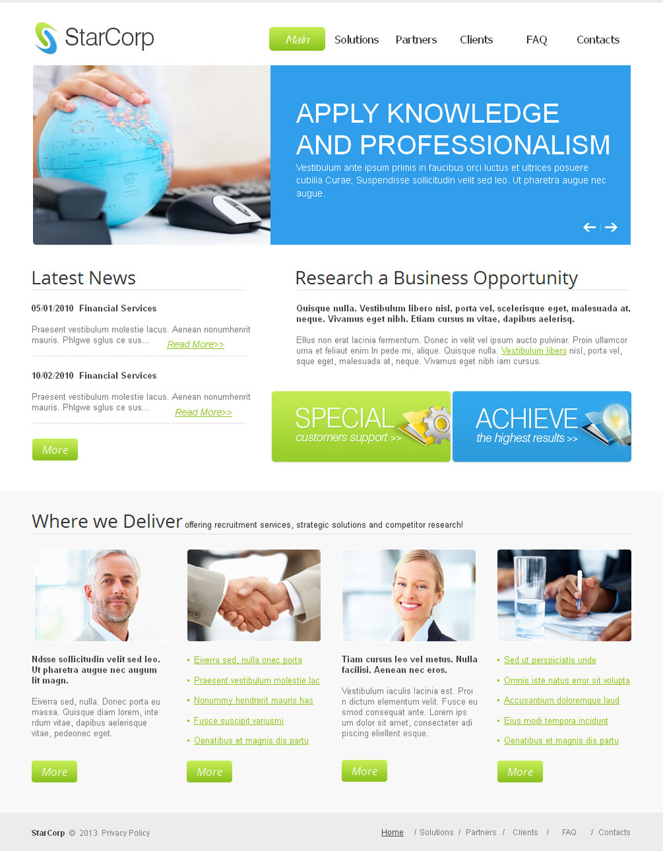 Business Website Template with Two-Column Header Content - image