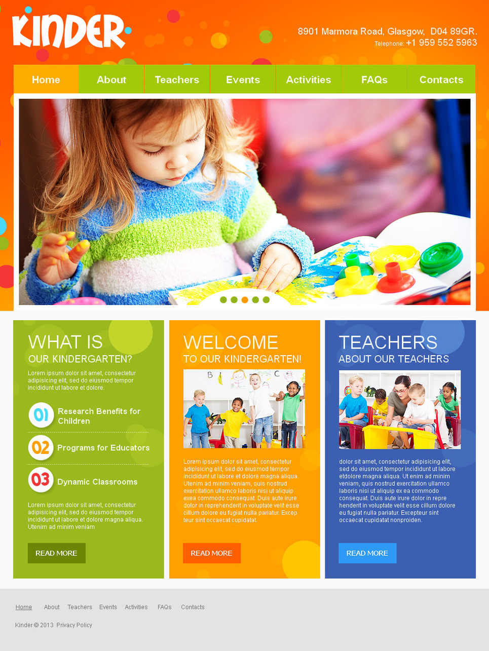 Kids and Children Day Care Website Template with Bright Background - image