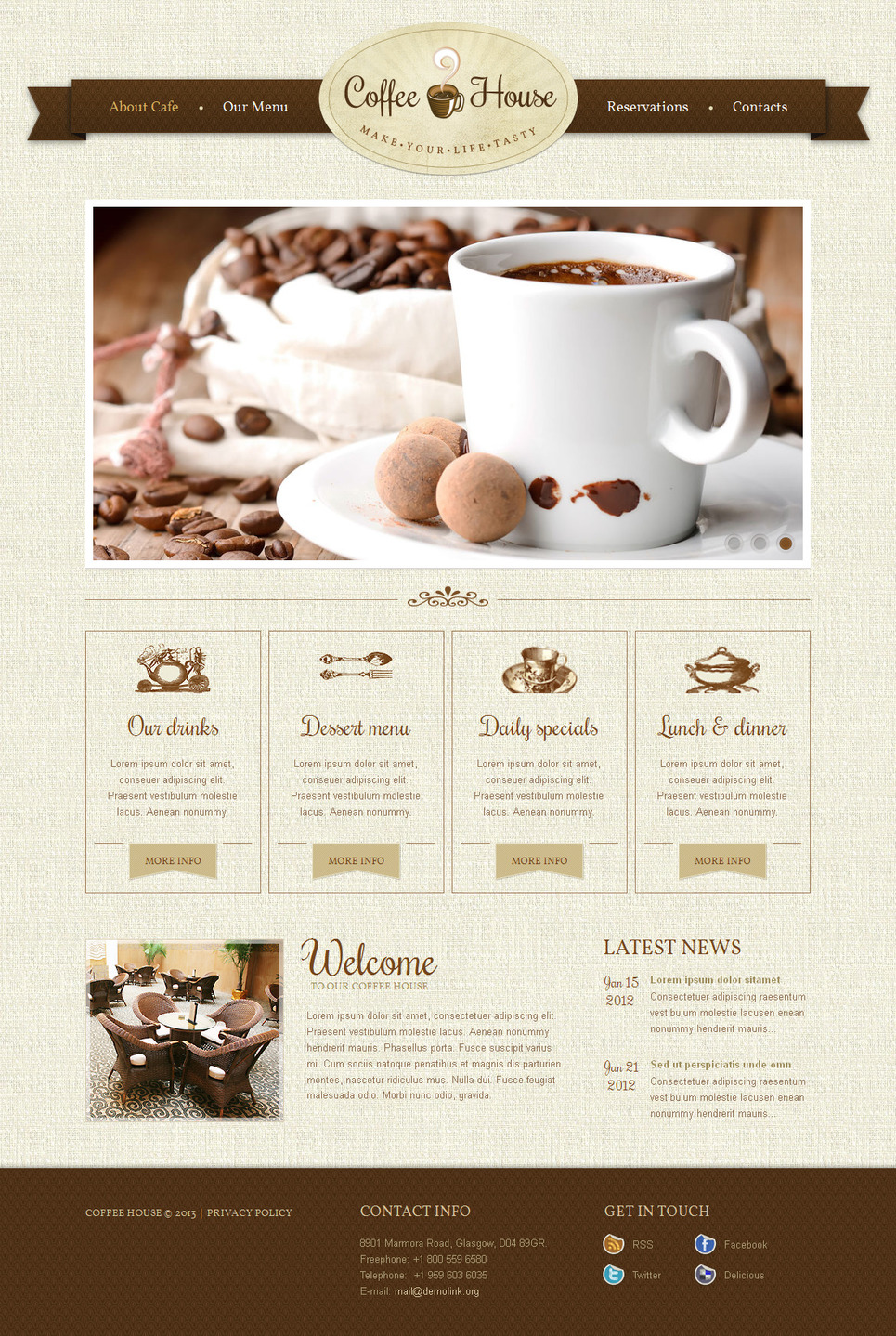 Coffee House Website Template to Make Life Tasty - image