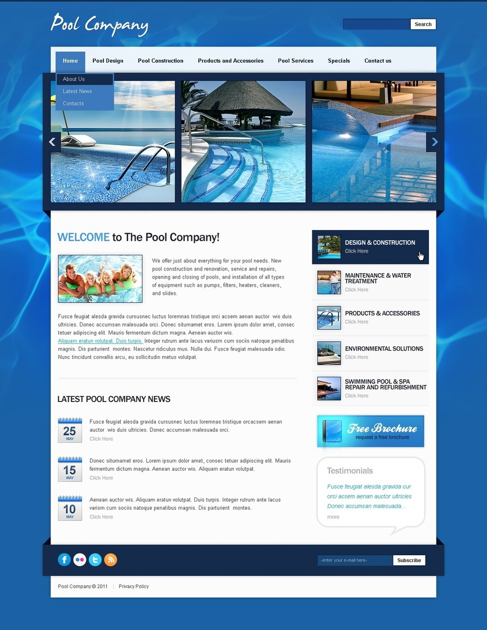 Pool Cleaning website theme's image