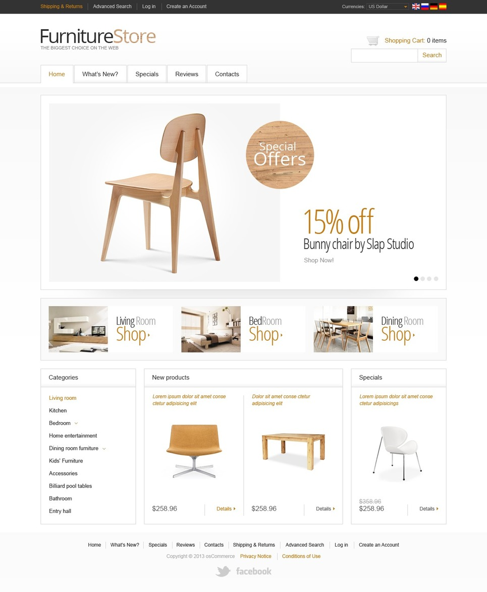 Mighty White Furniture Store OSCommerce Template