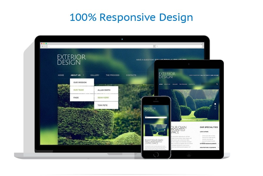 Exterior design responsive website template 42892 for Exterior design website templates