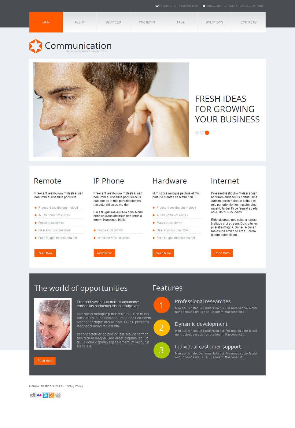 Communication Website Template with a jQuery Slider - image