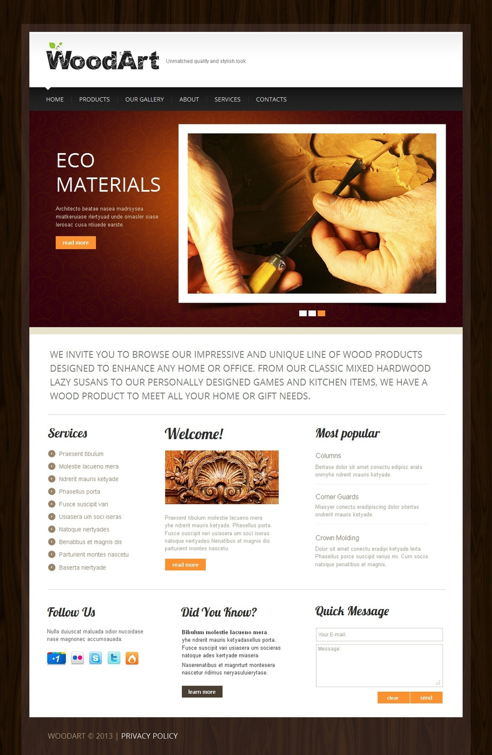 Woodcraft Website Template with Photo Gallery - image
