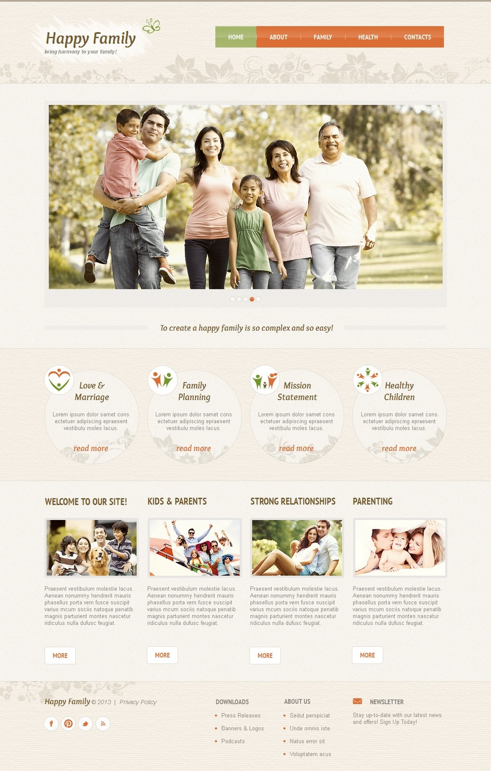 Family Web Template with Textured Header - image
