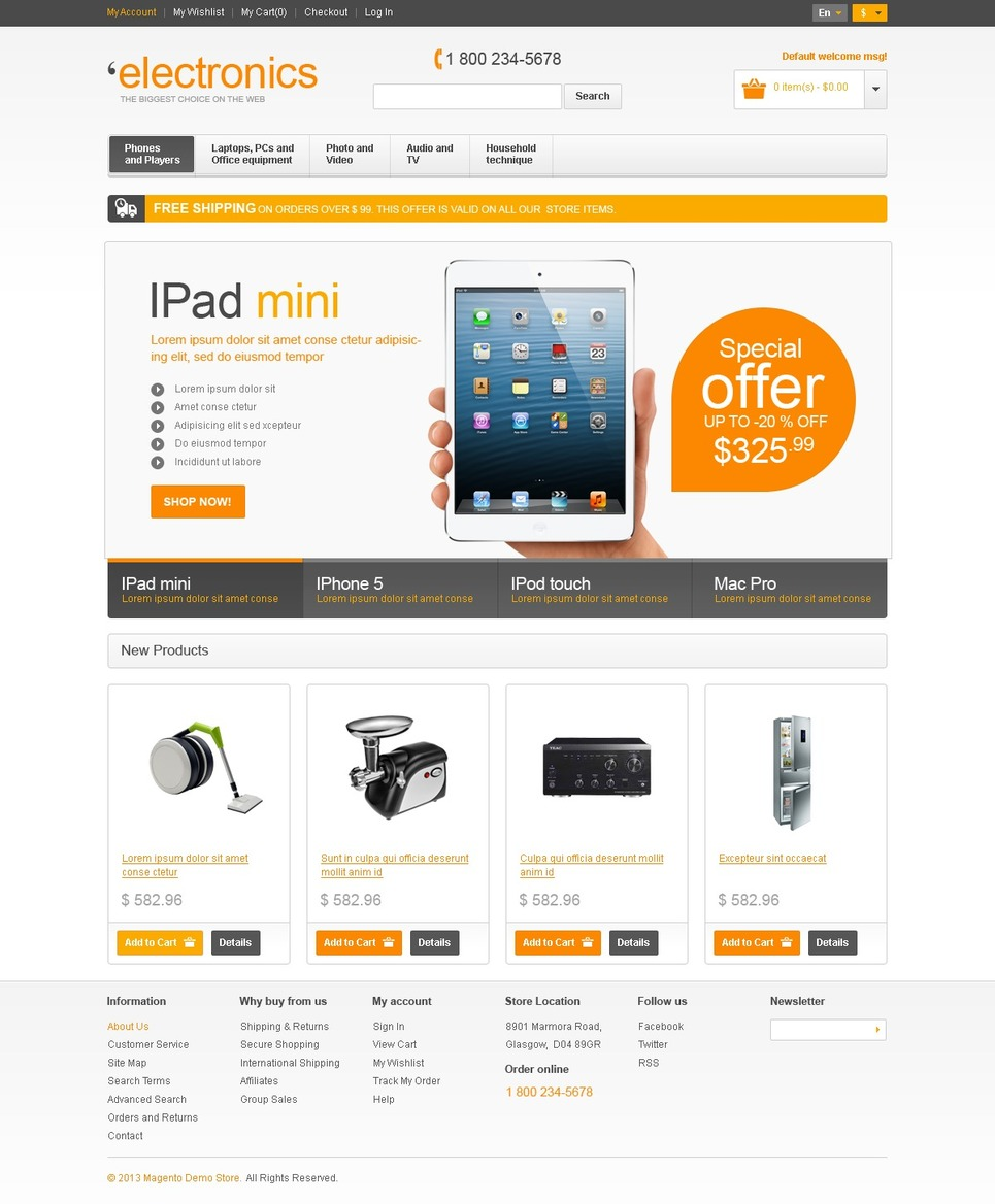Electronics store magento theme web design templates for Magento homepage template