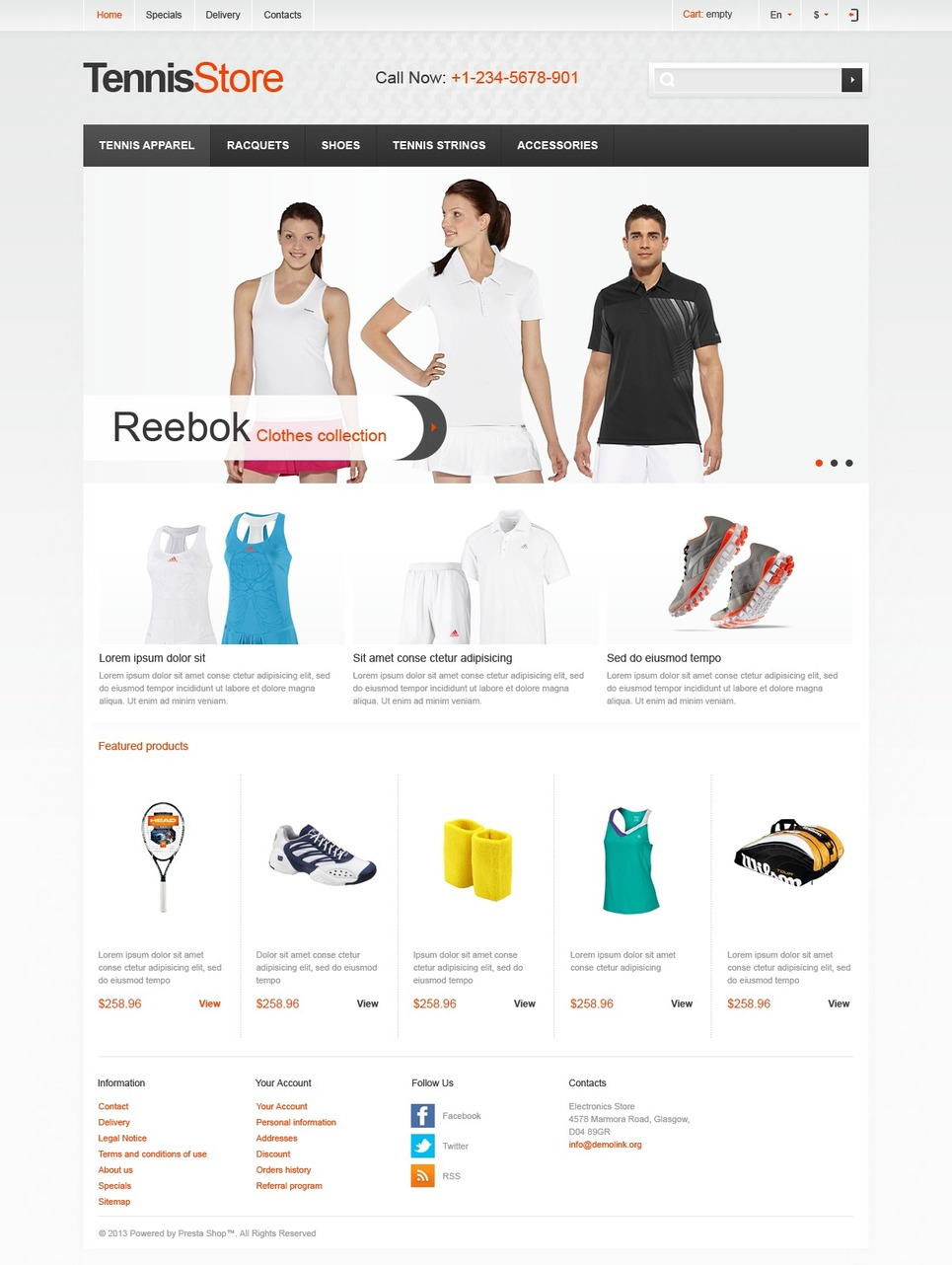 Tennis Store - Elegant Responsive PrestaShop Theme