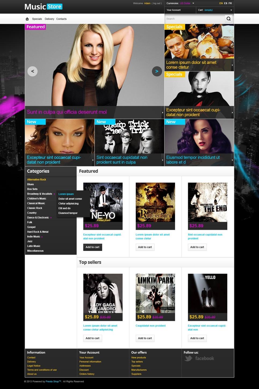 Popular Music Store PrestaShop Theme