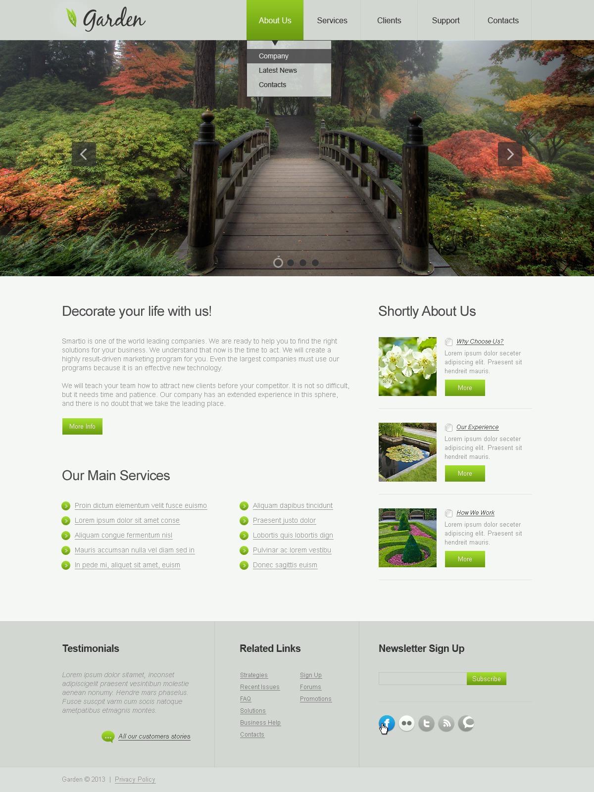 Plantilla web 42981 para sitio de dise o de jardines for Software diseno jardines