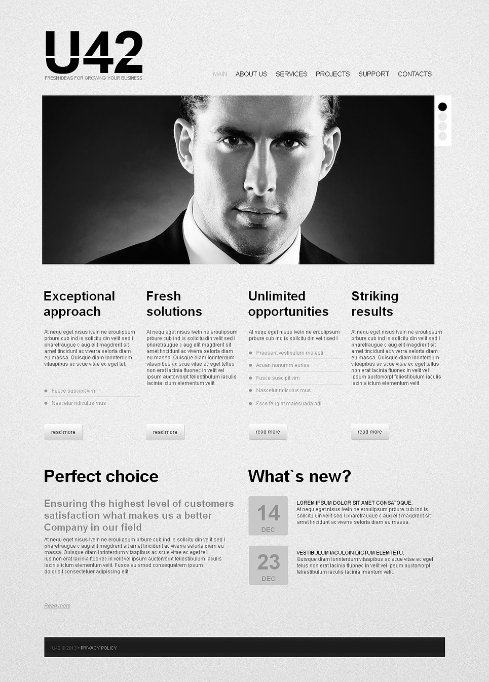 Newspaper Style Business Website Template in Black and White - image
