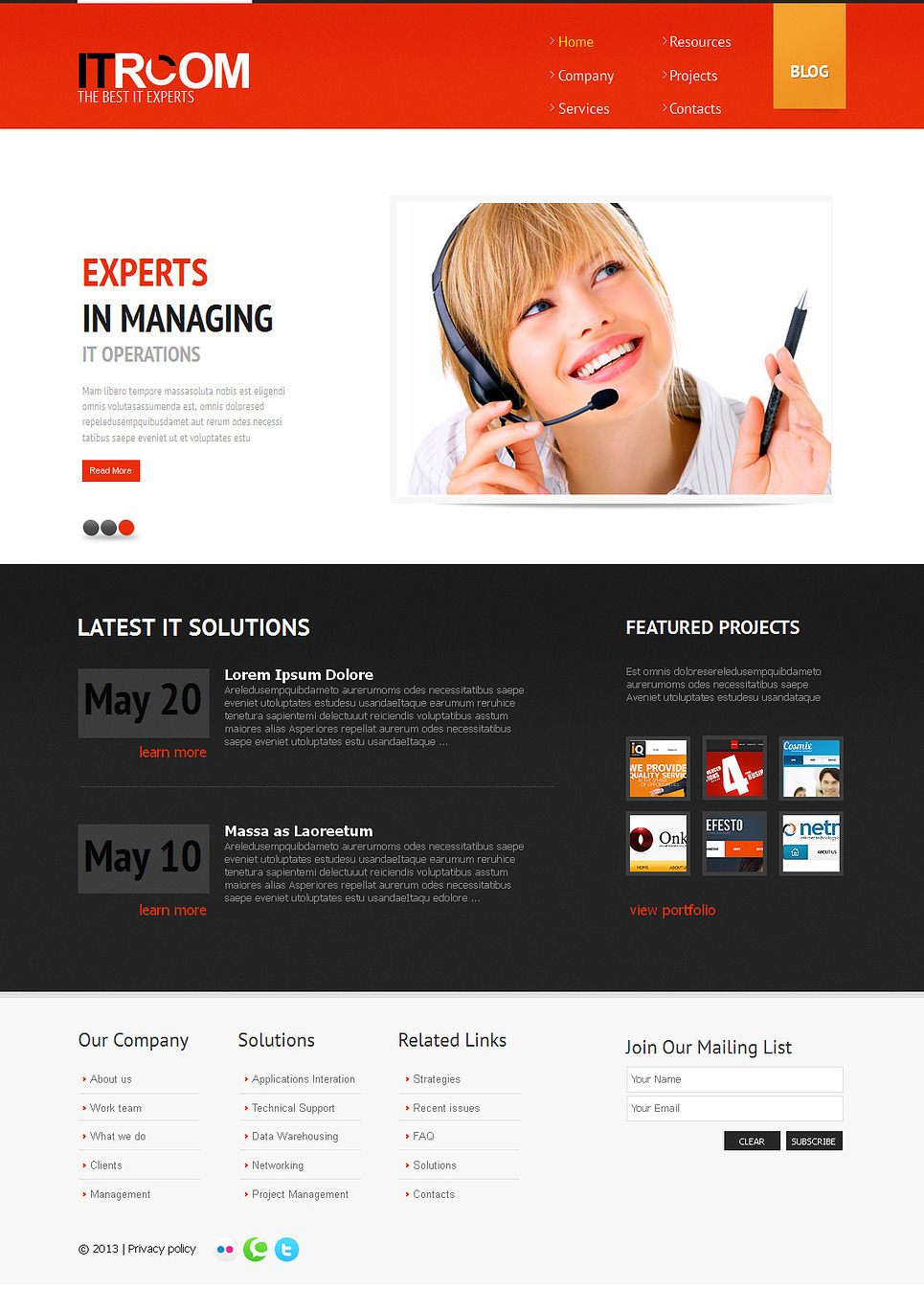 IT Business Web Template Designed in Classic Black-White-Red Scheme - image