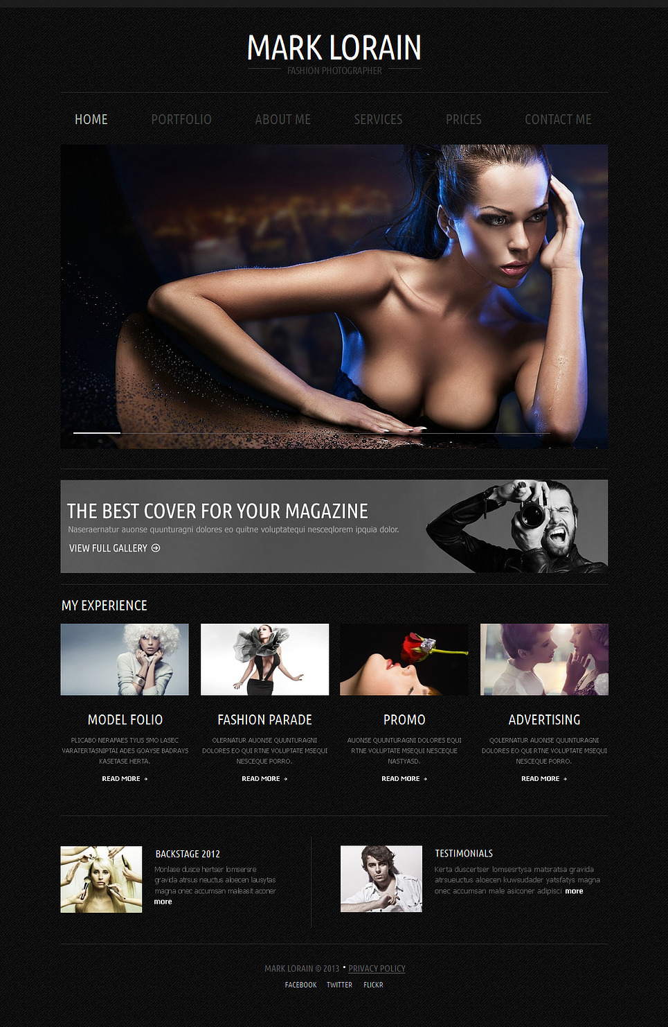 Fashion Photographer Website Template on Black Background - image