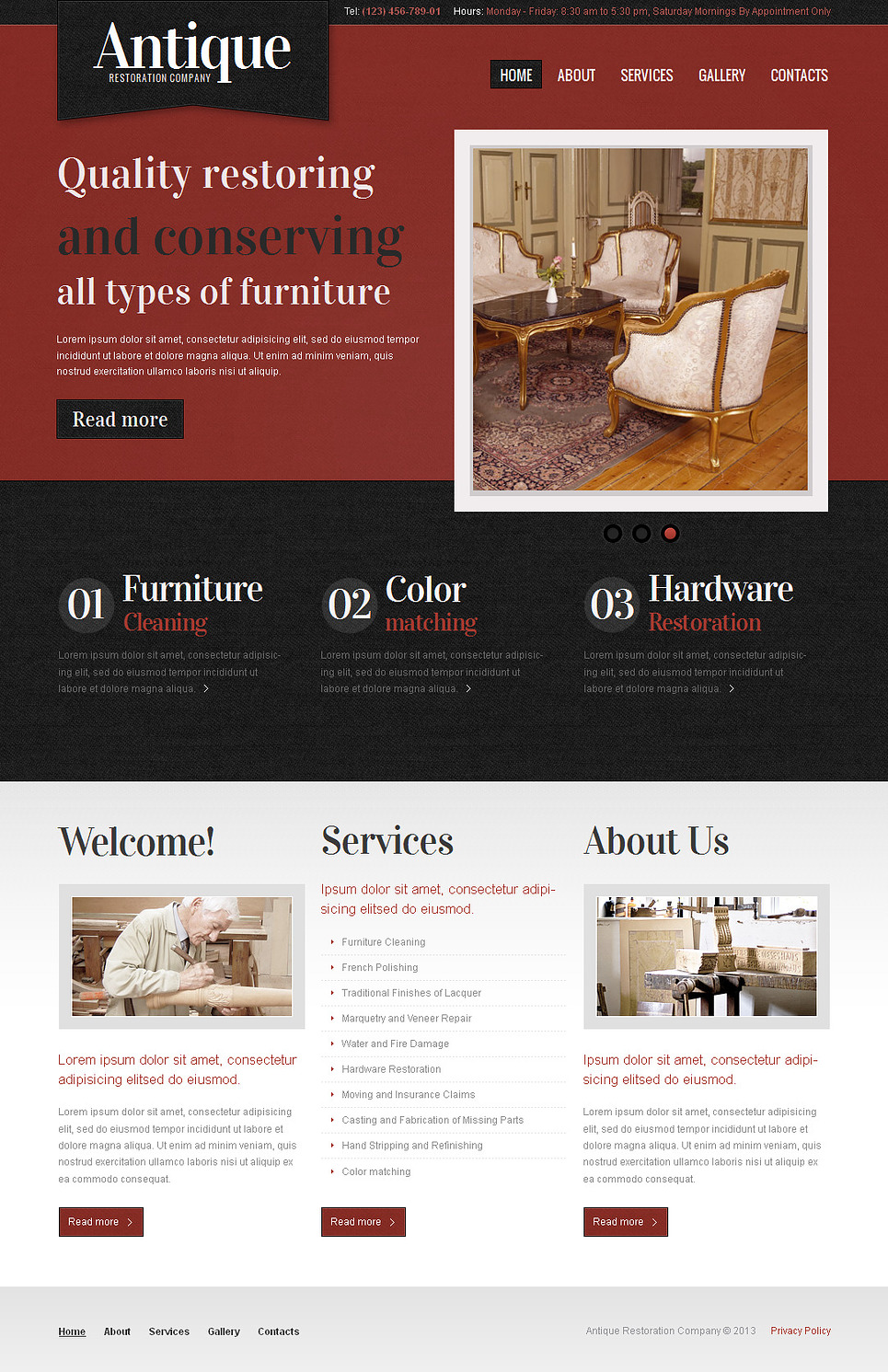 Antique Website Template for Restoration Company - image