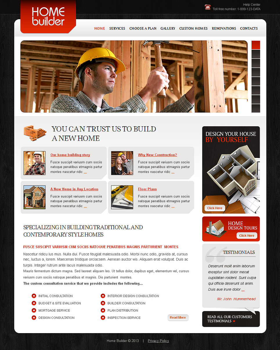 Construction Company Website Template with Wood Background - image