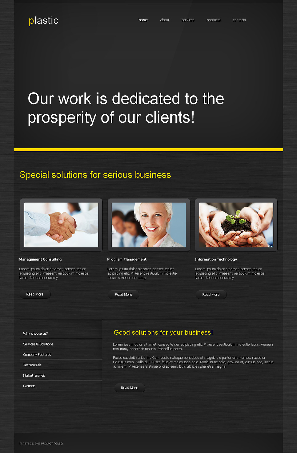 Black Business Website Template with Yellow Typography - image