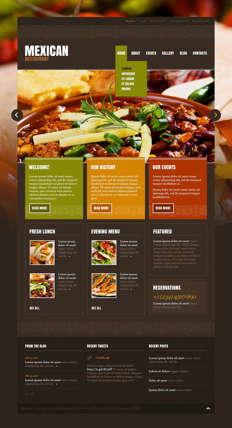 mexican restaurant wordpress theme  43196