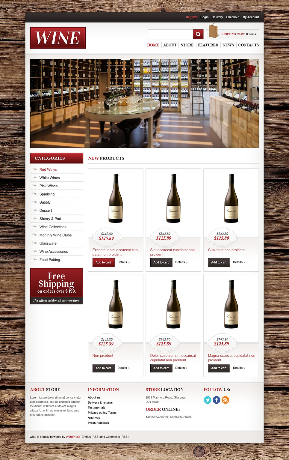 Stylish Wine Online JigoShop Theme