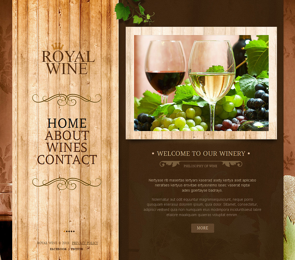 Winery Website Template with Wood Textured Navigation Menu - image