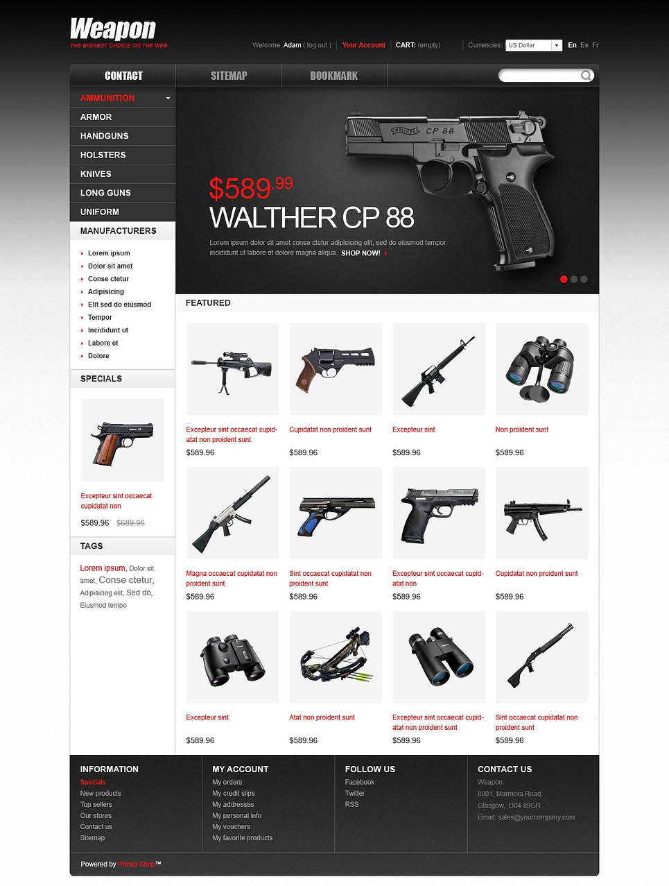 Compact Weapons for Sport & Safety Prestashop Theme
