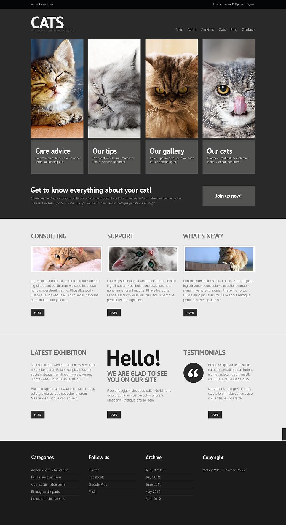 Cats - Amazing Responsive Cats WordPress Theme
