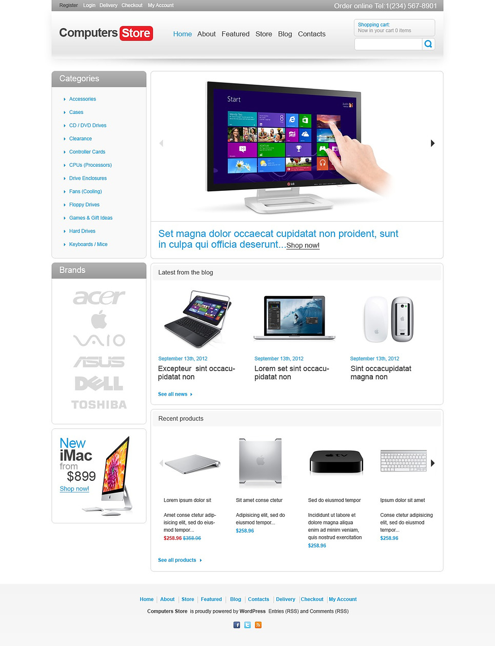 Neat Looking Responsive Computers store JigoShop Theme