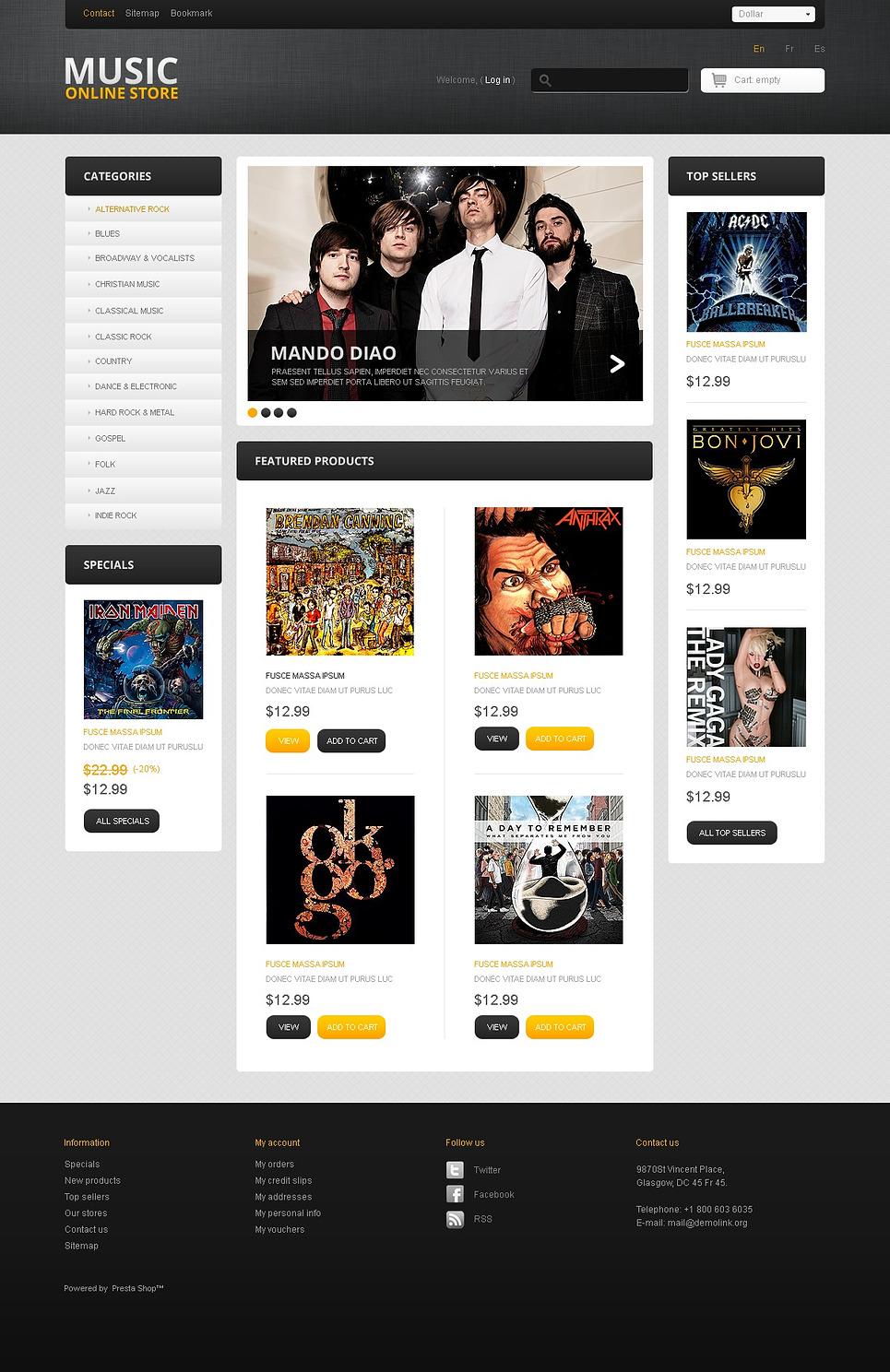Best Music Online PrestaShop Theme