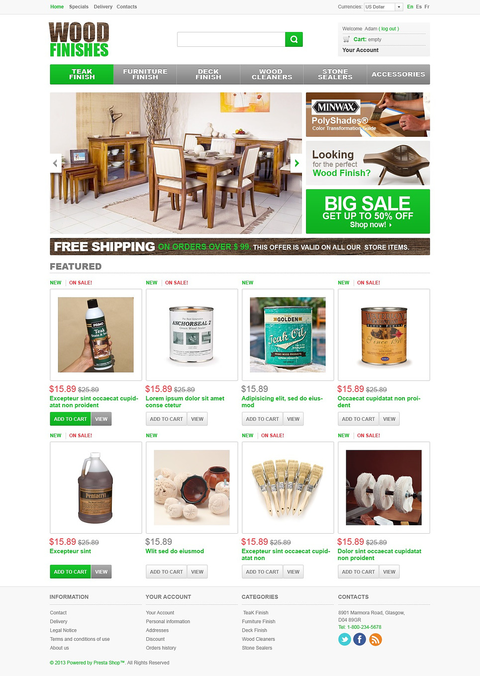 Artful Wood Finishes PrestaShop Theme
