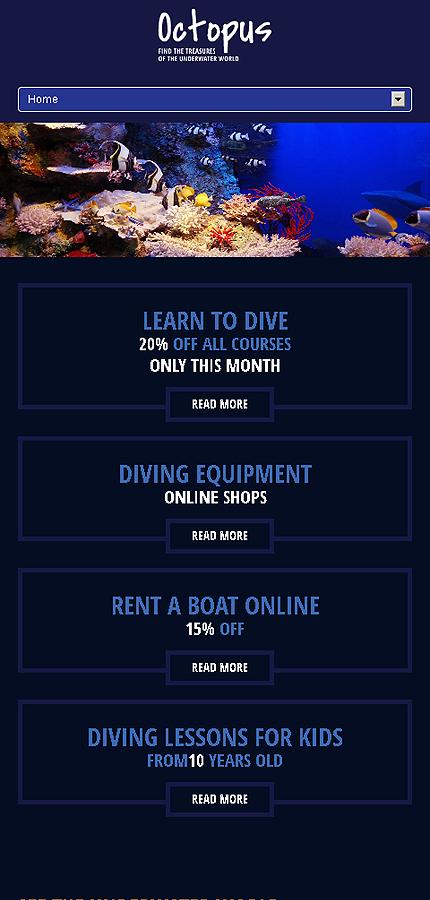 diving responsive website template web design templates website templates download diving. Black Bedroom Furniture Sets. Home Design Ideas