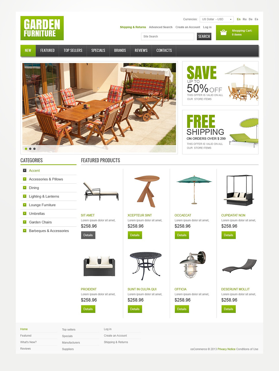 Garden Furniture OSCommerce Theme