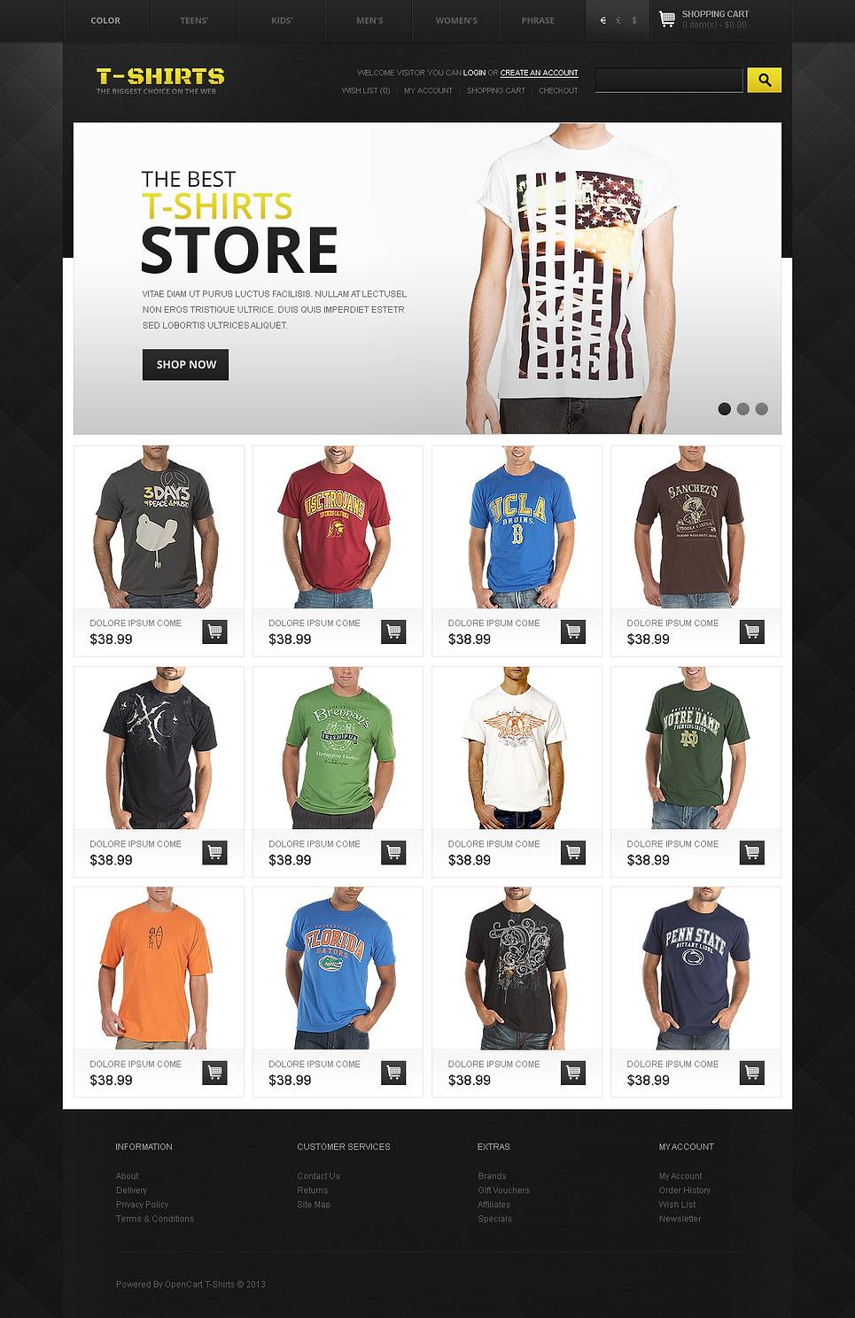 T Shirts Store Opencart Template Web Design Templates