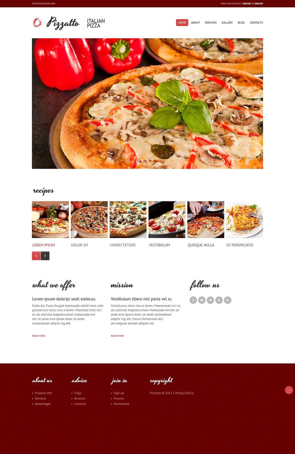 Marvellous Pizza Responsive Joomla Template