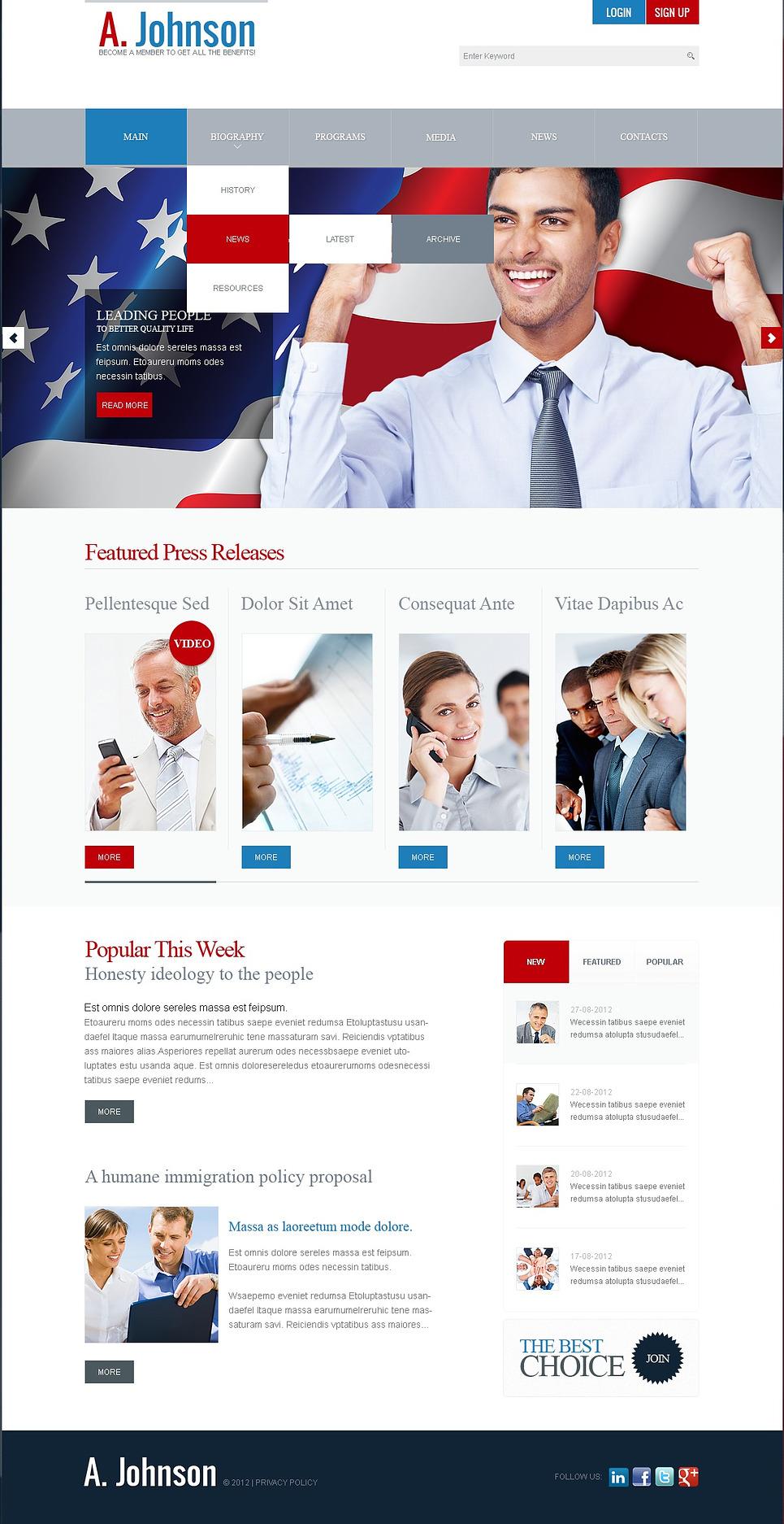 Political Candidate Joomla Template Web Design Templates