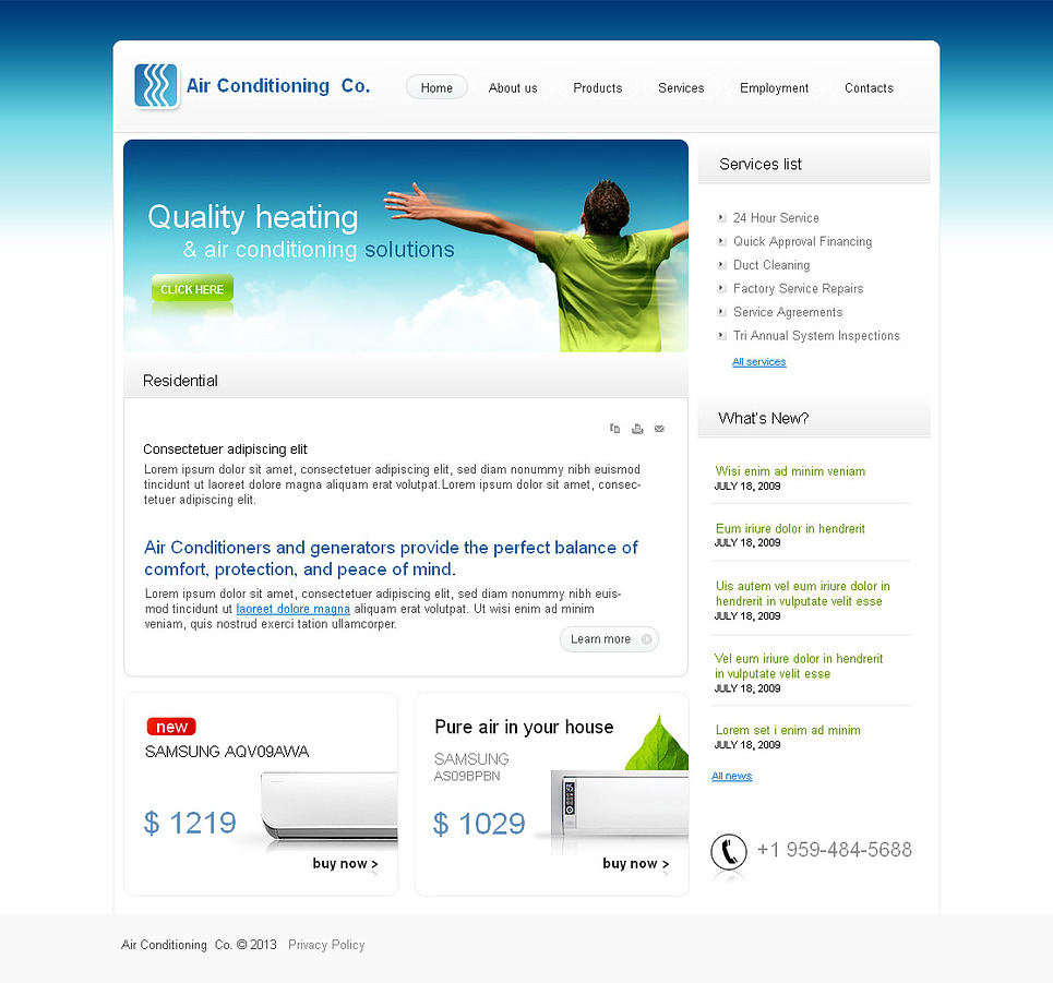 Air Conditioning Web Template with a Heaven Design - image
