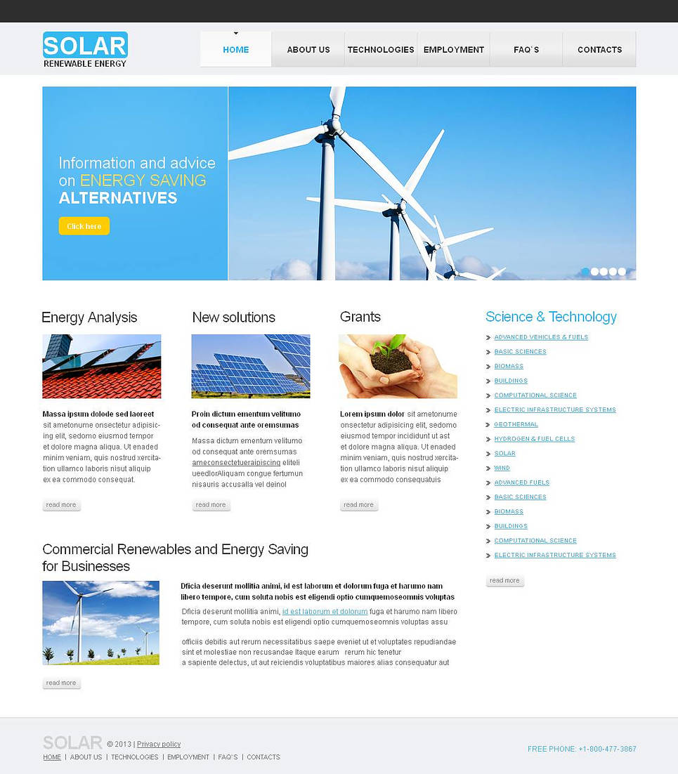 Alternative Energy Website Template Done in Light Tones - image