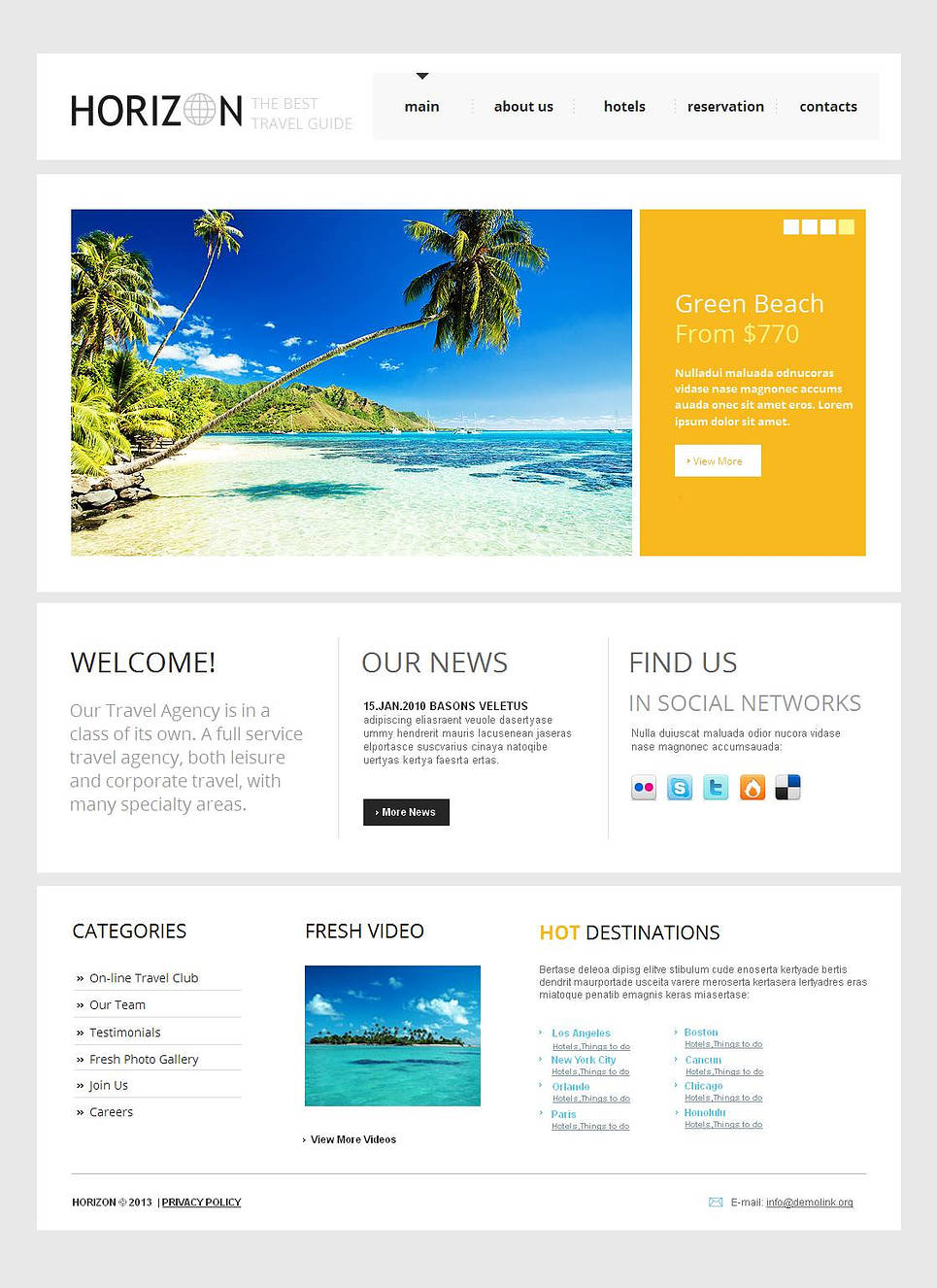 Clean Style Website Design for Travel Agencies - image