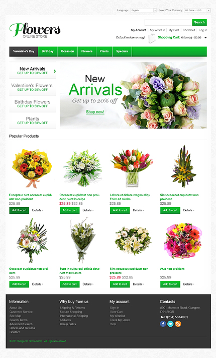 Flowers online store - Latest Florist Store Magento Theme