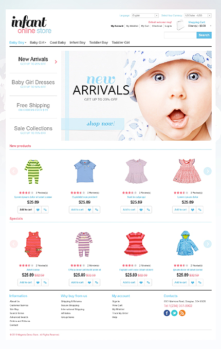 Infant online store - Soft Online Infant Clothing Store Magento Theme