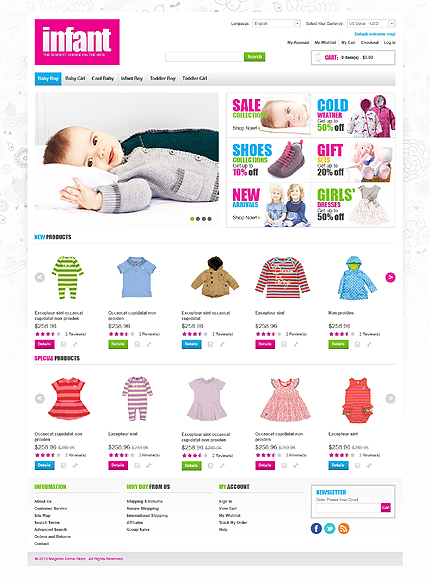 Infant - Gentle Online Infant Clothing Store Magento Theme